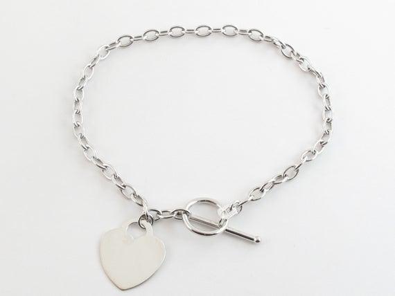 14k White Gold Rolo Link Toggle clasp Charm Bracelet Shiny | Et