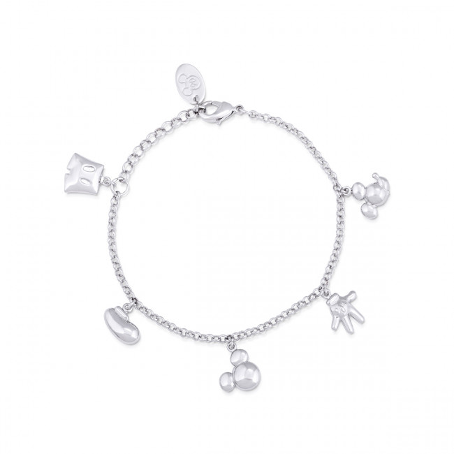 Disney Mickey Mouse 90 Years White Gold-Plated Icon Charm Bracelet .