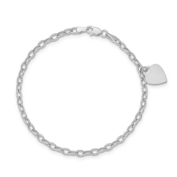 "Heart Charm Bracelet in 14K White Gold - 7.5"" | Online Exclusives ."
