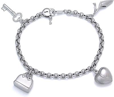 White Gold Bracelets: White Gold Photo Charm Bracel