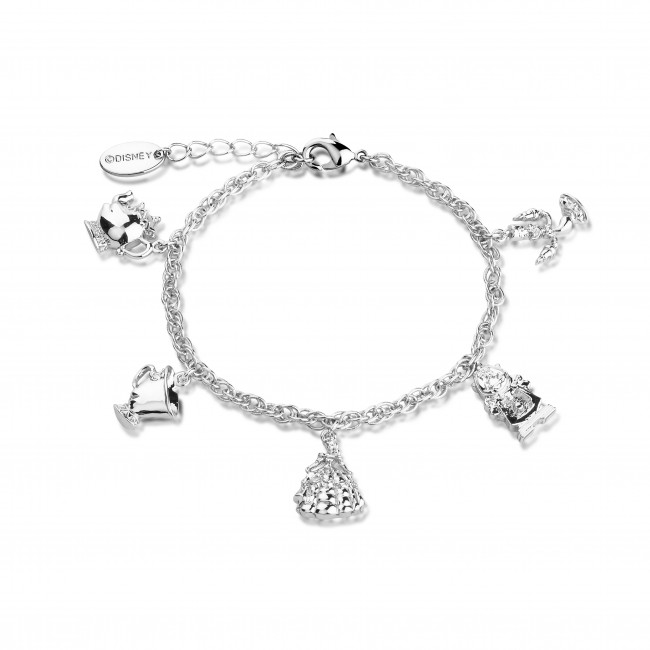 Disney Beauty & the Beast White Gold-Plated Characters Charm .