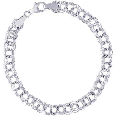"14K White Gold Triple Link 7"" Charm Bracelet by Rembrandt Char"