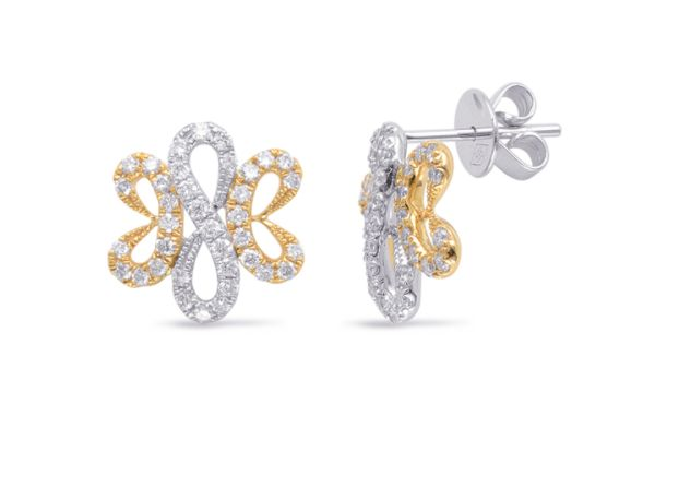 Elegantly designed genuine diamond earrings in 14K yellow & white .