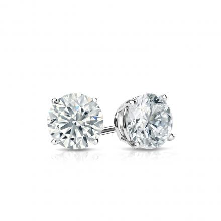 Certified 14k White Gold 4-Prong Basket Round Diamond Stud .
