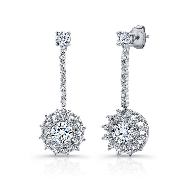 Barkev's White Gold Diamond Drop Earrings 8104E | Barkev
