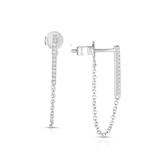 Bar and Chain White Gold and Diamond Earrings | Marisa Perry .