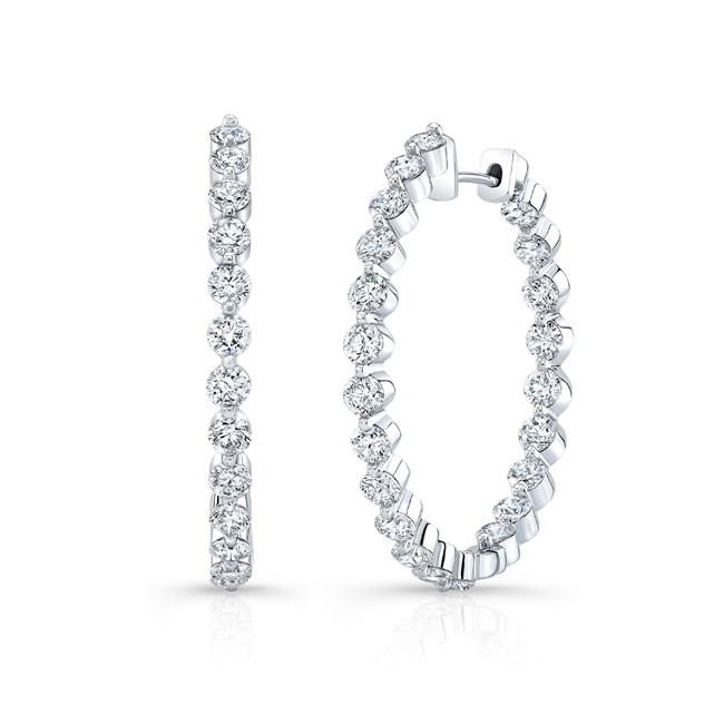 Barkev's White Gold Diamond Hoop Earrings 8183E | Barkev