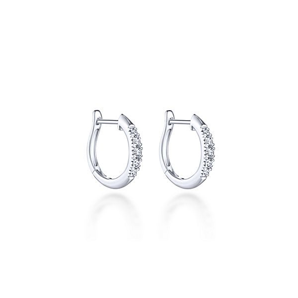14k White Gold Huggie Diamond Earrings - The Jewelry Sh