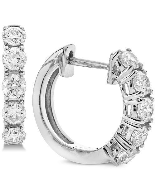 Macy's Diamond Hoop Earrings (1 ct. t.w.) in 14k White Gold .