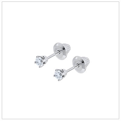 14kt White Gold Diamond Earrings with .10tcw -baby earrin