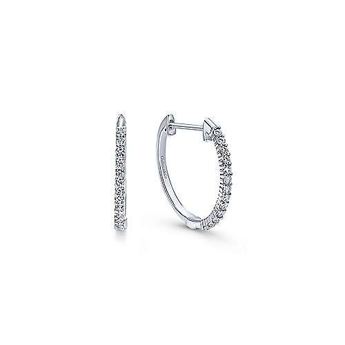 14kt White Gold 15mm Diamond Hoop Earrings - Freedman Jewele