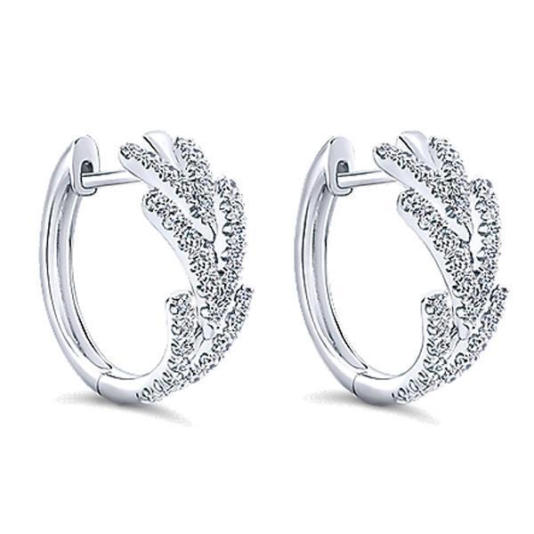 """Gabriel 14K White Gold Diamond """"Huggie"""" Hoop Earrin"""