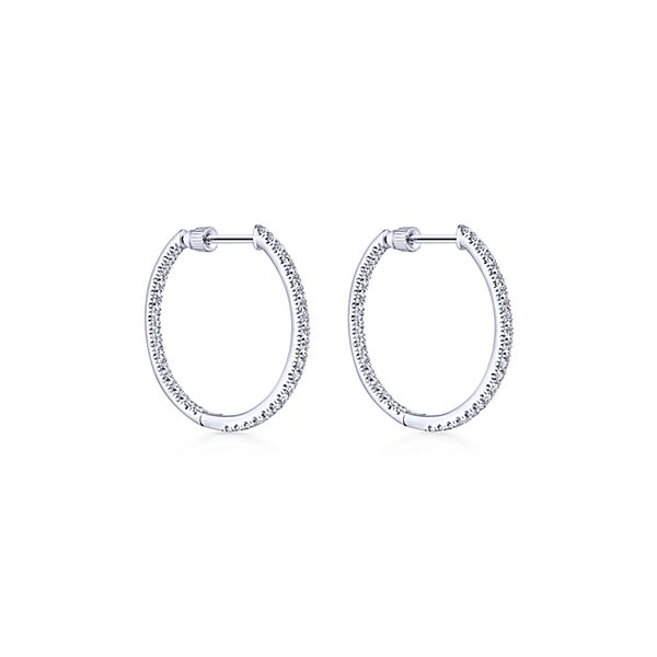 14k White Gold Inside Out Diamond Hoop Diamond Earrings - The .