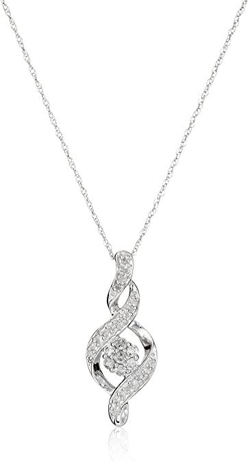 Amazon.com: 10K White Gold Diamond Twist Pendant Necklace (1/4 .