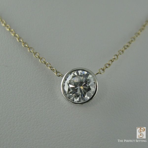 A Classic Diamond Necklace! Bezel Set Diamond in white gold with a .