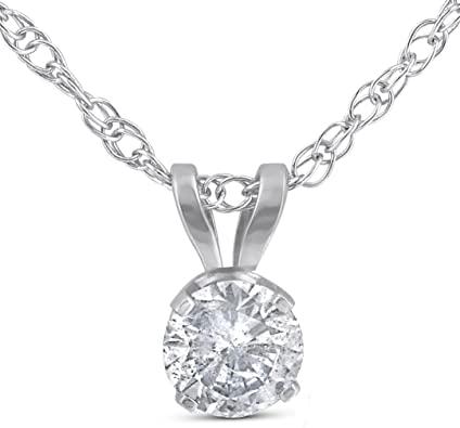 Amazon.com: 1/3ct Round Solitaire 14k White Gold Diamond Pendant .