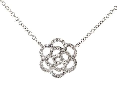 necklaces, diamond necklaces, 14k white gold flower motif diamond .