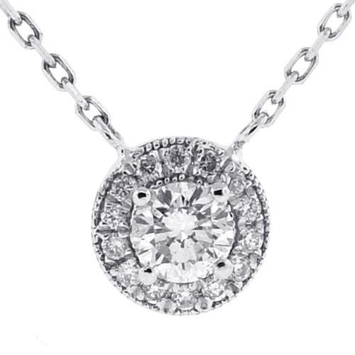 Womens Diamond Drop Halo Pendant Necklace 14K White Gold 0.85