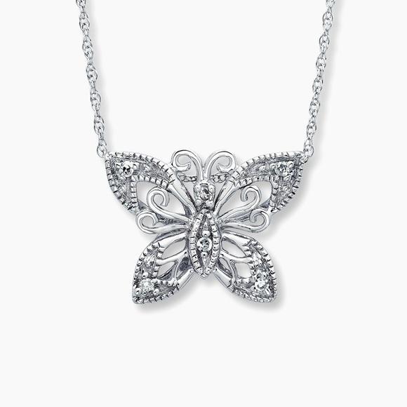 Kay Jewelers Jewelry | Kays Butterfly Diamond 10k White Gold .