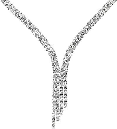 Estate 18k White Gold Diamond Necklace- 9.00ct TW 165-002