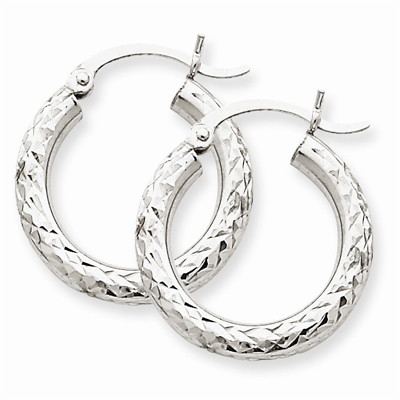 14k White Gold Diamond-Cut 3mm Round Hoop Earrin