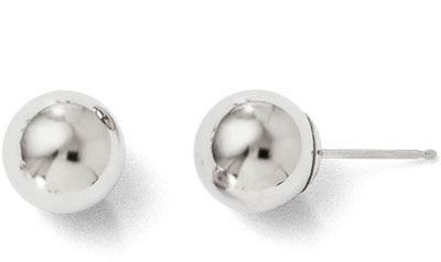 8mm Polished Ball Stud Earrings, 14K White Go