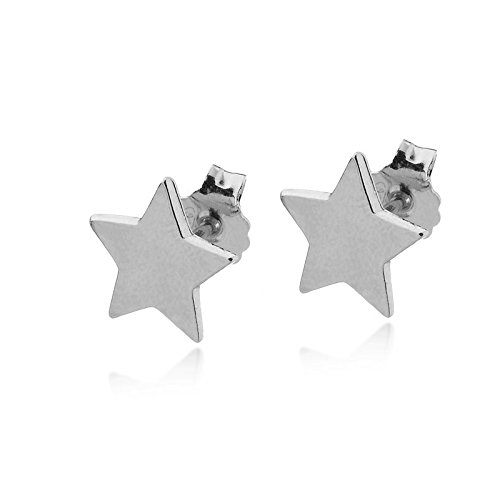 Amazon.com: 14k White Gold Star Stud Earrings Small Everyday .