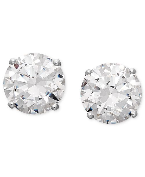 Arabella 14k White Gold Earrings, Swarovski Zirconia Round Stud .