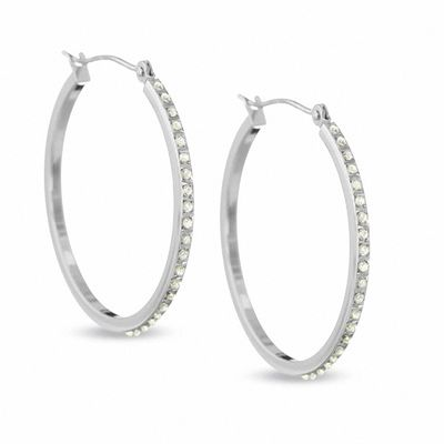 Diamond Fascination™ 30mm Round Hoop Earrings in 14K White Gold .