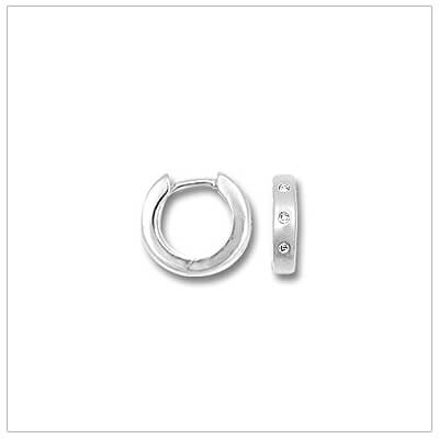 White Gold Diamond Huggie Earrings - Huggie Hoop Earrin