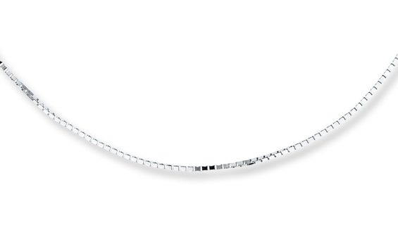 """Box Chain Necklace 10K White Gold 22"""" Length 