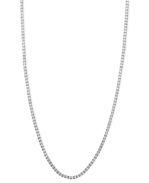 """Macy's 14k White Gold Necklace, 16"""" Box Chain (5/8mm) & Reviews ."""