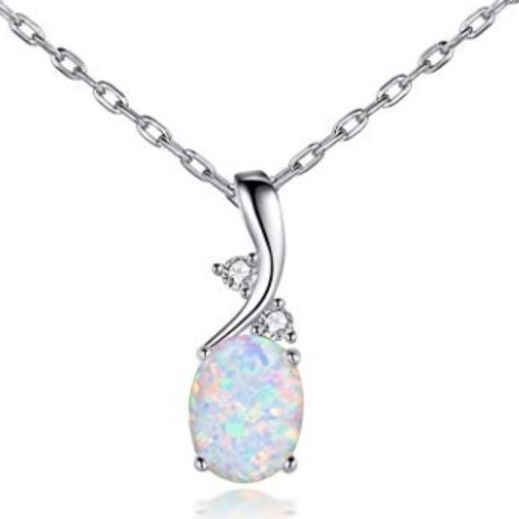 opal Jewelry | 18k White Gold Necklace | Poshma