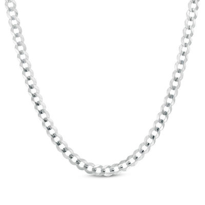 """Men's 4.7mm Curb Chain Necklace in 14K White Gold - 24"""" 