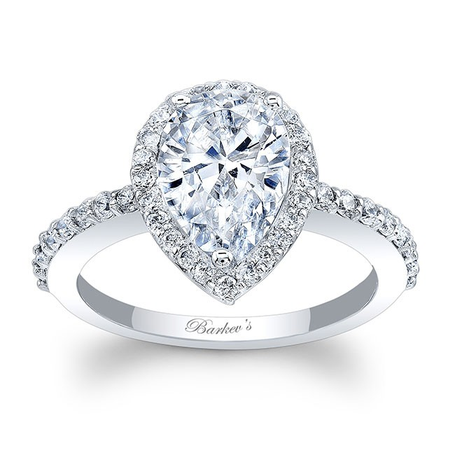 Barkev's White Gold Pear Shaped Engagement Ring 8061L | Barkev