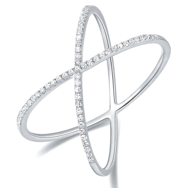14KT White Gold Diamond Criss-Cross Ring - Rings - In Stock - SH