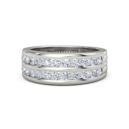 14K White Gold Ring with Diamond | Double Crown Ring | Gemva