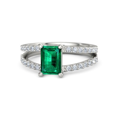 Emerald Emerald 14K White Gold Ring with Diamond | Samantha Ring .