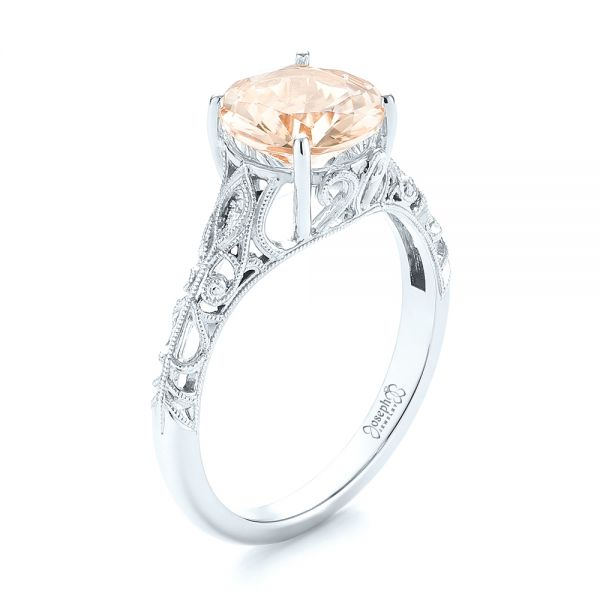14k White Gold Custom Solitaire Morganite Engagement Ring #103444 .