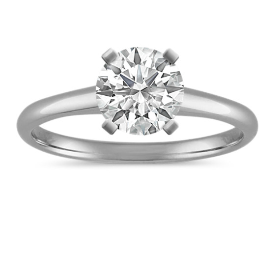 Solitaire Engagement Ring in 14k White Gold | Shane C