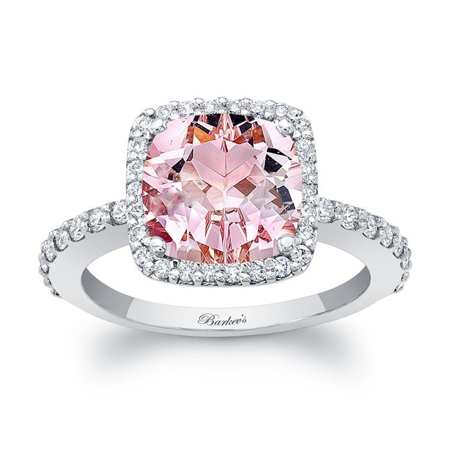 Barkev's Cushion Cut Morganite White Gold Engagement Ring MOC .