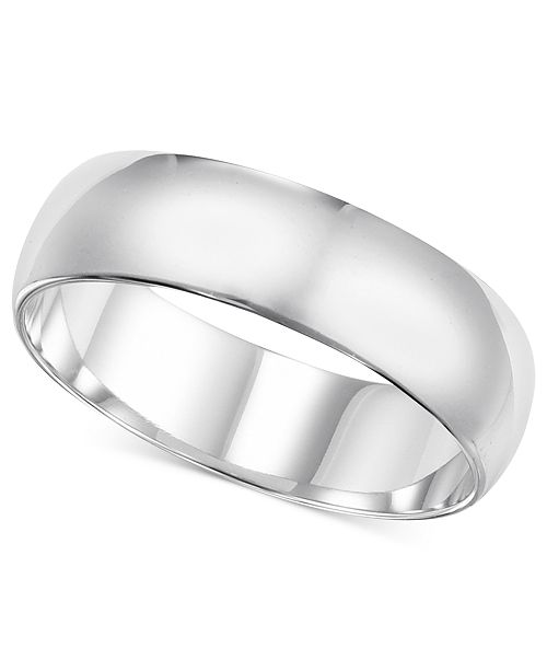 Macy's 14k White Gold Ring, 6mm Wedding Band & Reviews - Rings .