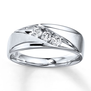 Men's Wedding Band 3/8 ct tw Diamonds 10K White Gold | Mens Bands .