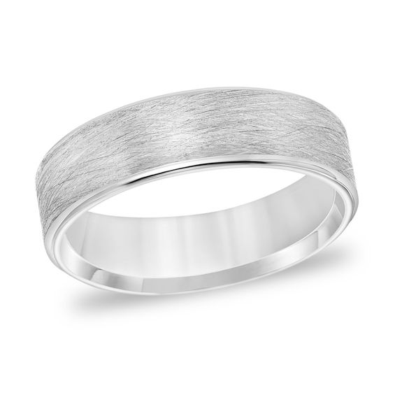 Men's 6.0mm Comfort-Fit Brushed Wire-Textured Wedding Band in 14K .