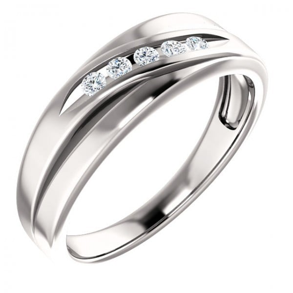 Mens Channel Set Diamond Wedding Band in 14k White Gold : Mens .