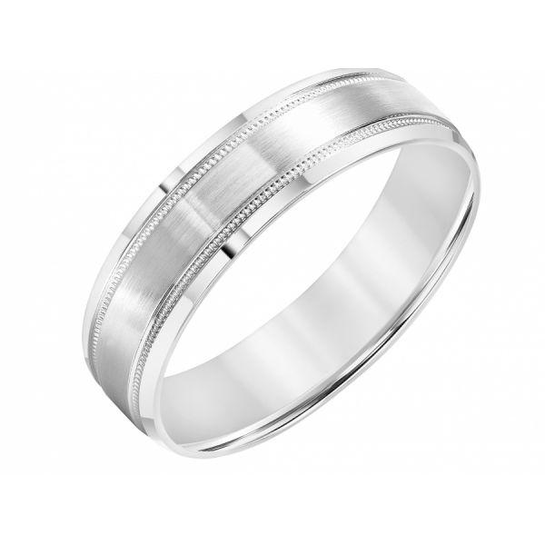 14K White Gold Men's Milgrain Wedding Band 11-8267W-G.00 | Martin .