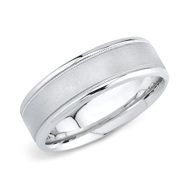 14k White Gold Mens Wedding Band 7MM Comfort F