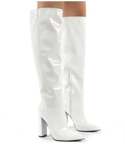 Indigo White Croc Block Heeled Knee High Boots | Public Desire .