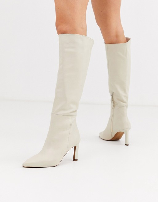 ASOS DESIGN Cyprus leather pull on knee high boots in off white | AS