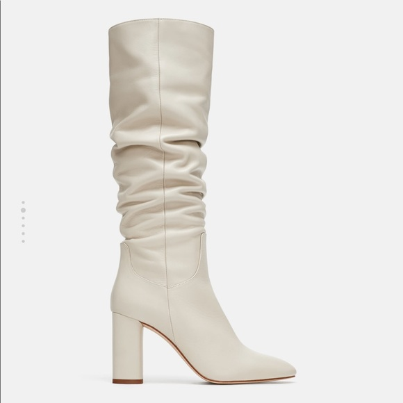 Zara Shoes | White Knee High Boots | Poshma